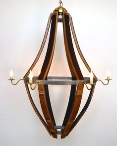 Prototype Wine Barrel Chandelier v5 - 100% RECYCLED from Napa Wine Barrels