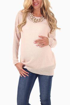 Light-Pink-Basic-Knit-Maternity-Sweater-Top #maternity #fashion #transitionalclothing #cutematernitytops