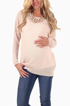Light-Pink-Basic-Knit-Maternity-Sweater-Top #maternity #fashion #transitionalclothing #cutematernitytops