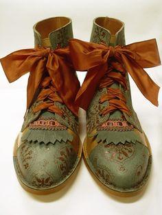 old doc martens, painters tape, paint, stencils, little bit of trim and ribbon--love doc martens!