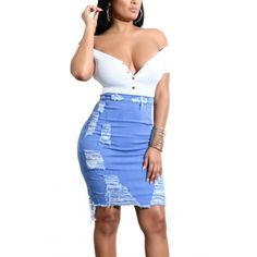 LovelyTrendy Broken Holes Light Blue Denim Sheath Knee Length Skirts Women's Best Online Shopping - Offering Huge Discounts on Dresses, Lingerie , Jumpsuits , Swimwear, Tops and More. Stretch Denim Skirt, High Street Fashion, Fashion Pattern, Trend Fashion, Style Fashion, Latest Fashion, Body Con Skirt, Moda Online, Diy Clothing