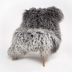 Perfect long hair grey sheepskin