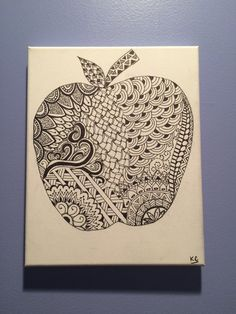 Zentangle Apple Original Ink Drawing by karmaNkismet on Etsy Fruits Drawing, Zen Art, Tangled, Arts And Crafts, Doodles, Artsy, Apple, Zentangles, The Originals