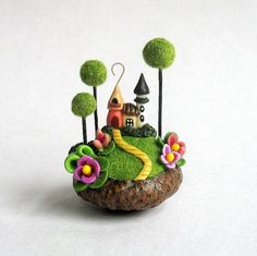 Miniature Charming Fairy House Colony in Acorn by ArtisticSpirit: