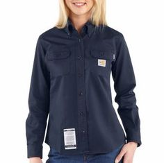 Lady's Carhartt� Flame-Resistant Classic Twill Shirt