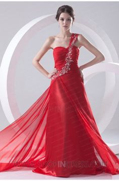 A-line One Shoulder Floor Length Chiffon Zip up Red Prom Dress with Embroidery