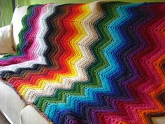 Love. I need to make one like this. I don't sell throws in my shop- they're for me or gifts only. :)  Chevron afghan. @crochet @chevron @afghan