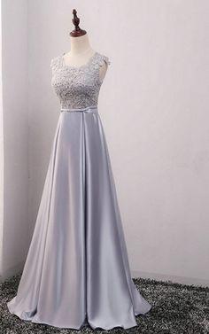 A Line Sleeveless Satin Silver Lace Sashes Floor Length O Neckline Long Prom Dress