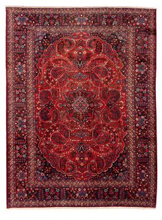 Persian Mashad x Hand-knotted Wool Red Rug Red Rugs, Persian, Bohemian Rug, Wool, Home Decor, Red Carpets, Decoration Home, Room Decor, Persian People