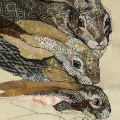 Artist: Kathryn Harmer Fox Lapin Art, Rabbit Art, Textiles, Textile Fiber Art, Bunny Art, Wildlife Art, Types Of Art, Animal Paintings, Art Techniques