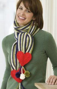 Stripes and Hearts Scarf | FaveCrafts.com