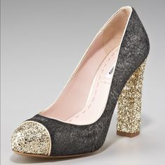 """NWOT Miu Miu Pump Pump. Gold glitter toe cap and heel add shine to a pretty calf hair heel. Gray & gold colors. 4"""" heel with 1/2"""" platform (same as 3 1/2"""" heel). Textile and calf hair upper/leather lining and sole. Made in Italy. Never worn. NWOT. Miu Miu Shoes Heels"""