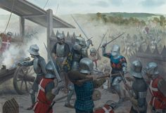 Breton cavalry strike the flank of the Anglo-Gascon array as the latter attack the fortified French artillery park east of Castillon, late afternoon, 17 July 1453