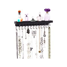 Necklace Holder Wall Mount Jewelry Organizer Hanging Closet Storage Rack Bracelet Display Shelf available in Silver, Bronze, White and Black Jewelry Rack, Jewelry Armoire, Jewellery Storage, Jewelry Box, Jewelry Holder, Jewelry Cabinet, Silver Jewelry, Wall Mounted Necklace Holder, Wall Mount Jewelry Organizer