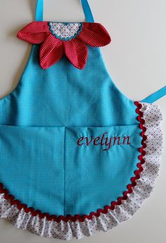 Fun Flower Child's Apron  Personalized by TheNewVintageHome, $30.00 Love the flower!!!
