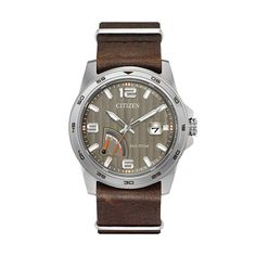 Citizen Eco-Drive Men's PRT Power Reserve Leather Watch - AW7039-01H, Brown