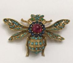 Vintage-Ciner-Signed-Bug-Bee-Insect-Pin-Brooch-Jelly-Belly-RARE-Bigger-Size