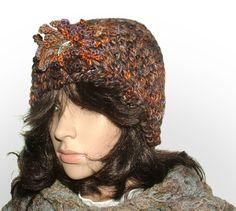 rustic brooch beanie #crochet beanie be Renate Kirkpatrick