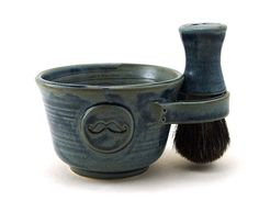 Awesome Gift for Men:  Shaving Set with a Mustache! Includes a Shave Mug, Shave Brush and Soap by MiriHardyPottery, $78.00