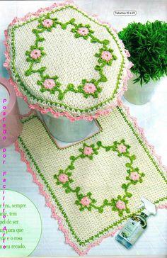 Light green crochet bathroom set ❤️LCB-MRS ❤️ with diagrams. --- Facilite Sua Arte: Jogo de Banheiro 2 - Tapete do Vaso