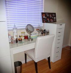 Vanity Setup Looks Like A White Parsons Chair Beauty Room My