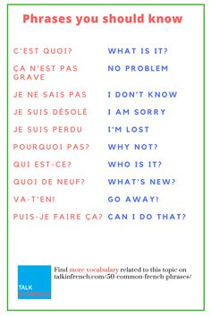Are you a French learner? Get here the list of common French phrases which are helpful for your French vocabulary + download the list in PDF format!  https://www.talkinfrench.com/50-common-french-phrases/ #frenchlanguagelearning