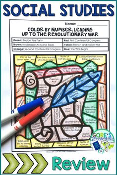 Your upper elementary students will LOVE this Events Leading up to the Revolutionary War Color by Number Activity! This printable will be a great way to review causes of the war. Facts about the Boston Tea Party, Intolerable Acts, First/Second Continental Congress, and the French and Indian War are included. Perfect for Social Studies research, review, stations/centers, and more! {American History, US History, Grades 3, 4, 5, 3rd, 4th, 5th}