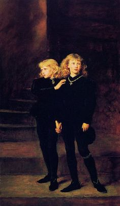 Edward V 1483 AD; Depicted here as the little princes in the tower, who mysteriously disappeared. For years they have been thought to have been murdered by their uncle, Richard III so that he could take the young king's place on the throne. Other believe that was propaganda started by the Tudors who usurped the crown from the Yorks, and that Henry VII was the actual culprit...not Richard III.