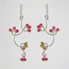 Cherry Blossom Twist Earrings by Vannucci. American Made. See the artist's work at the 2014 Buyers Market of American Craft, Philadelphia, PA. January 18-21, 2014. americanmadeshow.com #cherryblossom, #earrings, #jewelry, #americanmade