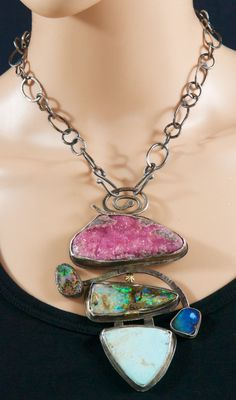 Sterling Silver, 18K Gold, Drusy Hot Pink Cobalto Calcite, Koroit Boulder Opals, Cerrillos Turquoise... on a Sterling Silver chain.