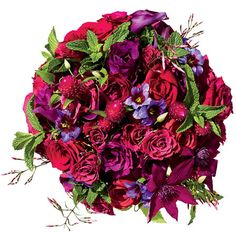 Bouquet of Hot Princess roses, clematises, calla lilies, jasmine, mint, and clover, $250, Belle Fleur, NYC; bellefleurny.com