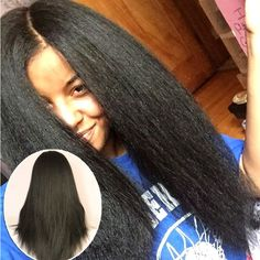 Kinky Straight Full Lace Wig Glueless Front Lace Human Hair Yaki Wigs For Black Women Brazilian Virgin Hair Full Lace Front Wigs Curly Lace Front Wigs, Straight Lace Front Wigs, Human Hair Lace Wigs, Remy Human Hair, Remy Hair, Human Wigs, Front Lace, My Hairstyle, Wig Hairstyles