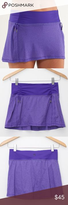 Lululemon Hot 'N Sweaty Yoga Purple Skirt/Skort Lululemon Hot 'N Sweaty Skirt/Skort Size 6. The color is heathered purple. Front cinches on both sides. Designed for hot yoga. Short liner provides freedom of movement, and skirt overlay lets you have more coverage. Lightweight sheer luon® fabric is breathable & wicking. There are cinchable drawcords in the front so you can customize how you want it to fit best. Gusseted crotch for added ease of movement. Fantastic condition. 🚫No trades…