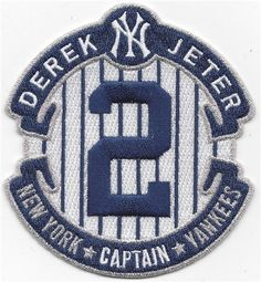 2014 MLB New York Yankees Derek Jeter Captain #2 Retirement Jersey Sleeve Patch - http://www.rekomande.com/2014-mlb-new-york-yankees-derek-jeter-captain-2-retirement-jersey-sleeve-patch/