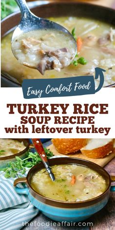 Quick Rice Recipes, Vegetarian Rice Recipes, Soup Recipes, Cooking Recipes, Healthy Recipes, Easy Leftover Turkey Soup Recipe, Turkey Rice Soup, Turkey Leftovers, Thanksgiving Leftovers