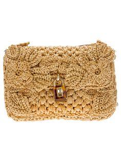 brown raffia clutch bag from Dolce Gabbana ♪ ♪ ... #inspiration #crochet #knit…