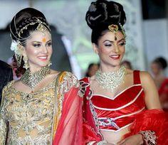 Sunny Leone & Sushmita Sen @ Ramp Walk for Rohhit Verma and Shilpa Marigold's fashion show 'Ignite' I like the embroidery on sunny leone and the necklace on sushmita sen