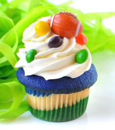 The official Seahawks Beast Mode Cupcake, only at Trophy! #Beastmode #seattle @Keith Savoie Savoie Pacheco #skittles