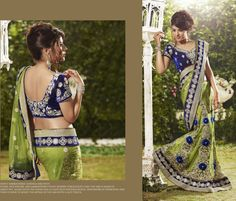 Beautiful Designer saree crafted with sophistication for Bridal, Wedding and Party occasion. Gorgeous Designs with sober colors and work will enhance your beauty. This is Olive Green Net Lehenga Saree with Blouse. Its has Zari embroidered Velvet Border throughout the saree with handwork of swarovski and stones with lacy touch. . Time to ship will be 5-10 days. Stitching may take 3-4 days extra. Wash Care: Dry Clean Only