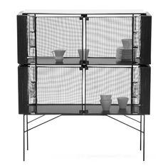 """These Hybrid Cabinets by German designer Meike Harde are made from wire cages to create a """"protective environment"""" for delicate items stored within"""