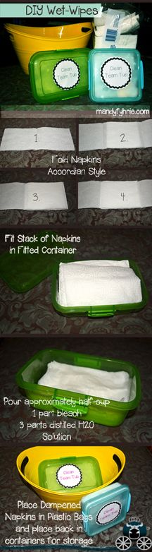 Wet Wipes Tutorial {Disinfectant} - Great for wiping down toys (make sure to wear gloves!) www.mandyfyhrie.com
