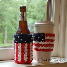 "Free Crochet Pattern: ""Celebrate"" Cozy & Sleeve pattern by A Crocheted Simplicity  #freecrochetpattern #patrioticcrochet #drinkcozy"