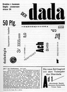 Dada or Dadaism was an art movement which began in Zurich, Switzerland in 1916, spreading to Berlin shortly thereafter. It was born out of negative reaction to the horrors of World War I. Dada rejected reason and logic, prizing nonsense, irrationality and intuition. Dada activities included public gatherings, demonstrations, and publication of art/literary journals; passionate coverage of art, politics, and culture were topics often discussed in a variety of media.