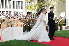 Prince Guillaume Of Luxembourg & Stephanie de Lannoy wearing Elie Saab wedding Dress marriage 2012 full best train