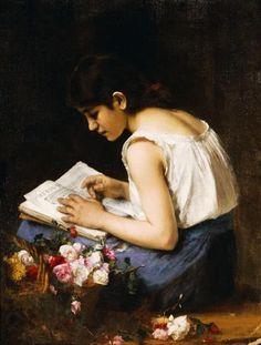 """A girl reading"" by Alexei Alexeivich Harlamoff"
