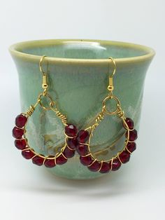 Red Crystal Wire Wrapping Earrings