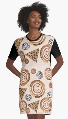 Graphic T-Shirt Dress 3D AFRIKA ANIMAL #2 by sana90 Animal 2, Abstract Animals, Shirt Dress, T Shirt, Chiffon Tops, Cool Art, High Neck Dress, Women's Fashion, Artists