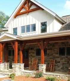 Timber Frame Home - Timber Frame Exterior - Timber Frame Accents - Timber Frame Porch - Homestead Timber Frames - Crossville Tennessee