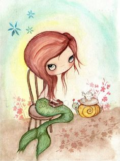 Reading Mermaid-Time For Tea Original Watercolor Painting by The Poppy Tree via Etsy.