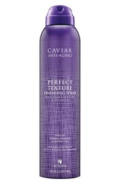 Free shipping and returns on ALTERNA® 'Caviar Anti-Aging' Perfect Texture Finishing Spray at Nordstrom.com. Caviar Anti-Aging Perfect Texture Finishing Spray is part dry shampoo, part hairspray. It adds dimensional texture, shape and movement to your hair to give it a boost wherever you need it.<br><br>How to use: Hold can 8-12 inches from dry hair and spray throughout.